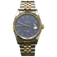 Rolex Datejust 16233 Purple Dial 18 Karat Gold Stainless Steel Mint Condition
