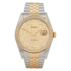Rolex Datejust 36 16233 Men's Stainless Steel and Yellow Gold Diamond Watch