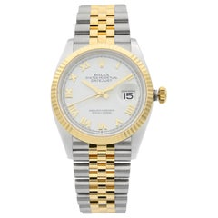 Rolex Datejust 36 18K Yellow Gold Stainless Steel White Dial Men's Watch 126233