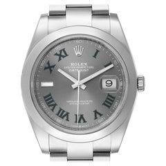 Rolex Datejust 41 Grey Dial Green Numerals Steel Men's Watch 126300 Unworn