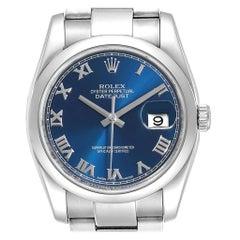 Rolex Datejust Blue Roman Dial Domed Bezel Steel Men's Watch 116200