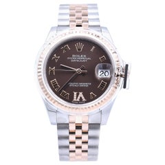 Rolex Datejust Mid-Size Two-Tone Factory Chocolate Roman Dial with 11 Diamonds