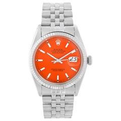 Rolex Datejust Steel Watch 1601 Orange Dial Men's Watch