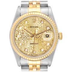 Rolex Datejust Steel Yellow Gold Diamond Men's Watch 16233 Box
