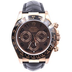 Rolex Daytona 18k Rose Gold Cosmograph Watch with Black Alligator Strap Ref. #11
