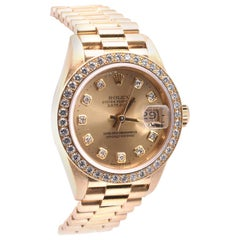 Rolex Ladies 18 Karat Yellow Gold Datejust President Ref. 69138