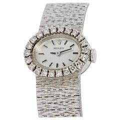 Rolex Ladies Wristwatch, 18 Karat White Gold, with Diamonds, Manual Wind