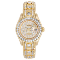 Rolex Ladies Yellow Gold Diamond Masterpiece Pearlmaster Wristwatch Ref 69298