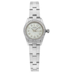 Rolex Oyster Perpetual Custom Diamond Bezel and Dial Ladies Watch 76080