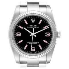 Rolex Oyster Perpetual Steel White Gold Black Dial Watch 116034 Box Card