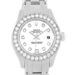 Rolex Pearlmaster Masterpiece White Gold Diamond Ladies Watch 80299