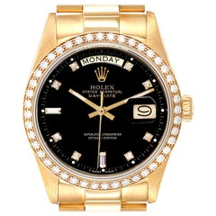 Rolex President Day-Date Yellow Gold Diamond Dial Bezel Watch 18038
