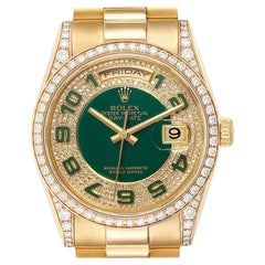 Rolex President Day Date Yellow Gold Green Enamel Diamond Men's Watch 118388