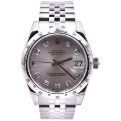 Rolex Stainless Steel Midsize Datejust with Silver Diamond Dial and Sprinkled