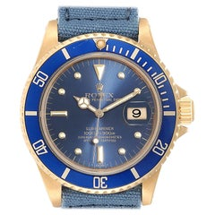 Rolex Submariner 18 Karat Yellow Gold Blue Dial Men's Watch 16808