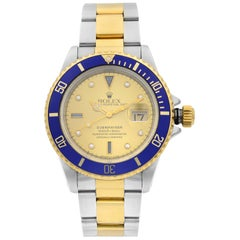 Rolex Submariner 18K Gold Steel Serti Champagne Dial Automatic Men's Watch 16613
