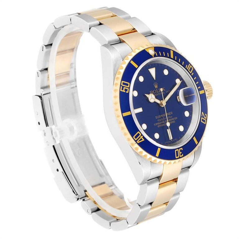 Rolex Submariner Blue Dial Steel Yellow Gold Men's Watch 16613 Box Papers In Excellent Condition In Atlanta, GA