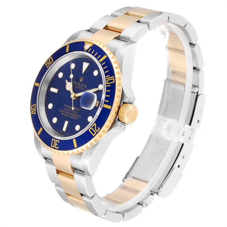 Rolex Submariner Blue Dial Steel Yellow Gold Men's Watch 16613 Box Papers 1