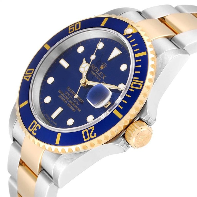 Rolex Submariner Blue Dial Steel Yellow Gold Men's Watch 16613 Box Papers 2