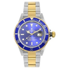 Rolex Submariner Date Stainless Steel Gold Blue Dial Automatic Men Watch 16613