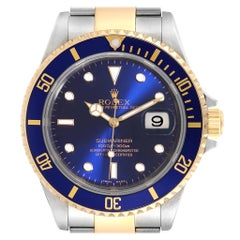 Rolex Submariner Purple Blue Dial Steel Yellow Gold Men's Watch 16613