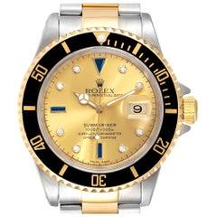 Rolex Submariner Steel Gold Diamond Sapphire Serti Dial Men's Watch 16613