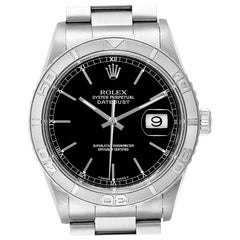 Rolex Turnograph Datejust Steel White Gold Black Dial Men's Watch 16264