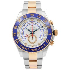 Rolex Yacht-Master II White Dial 18k Gold Steel Command Bezel Men's Watch 116681