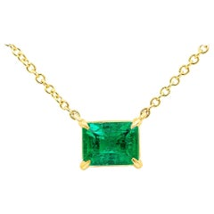 Roman Malakov 1.04 Carat Green Emerald Solitaire Pendant Necklace