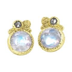 Rona Fisher Glowing Moonstone Salt and Pepper Diamond Stud Earrings