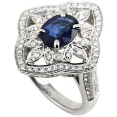 French Inspired Sapphire Diamond Cocktail Ring