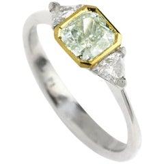 GIA Certified 0.77 Carat Green Diamond Engagement Ring