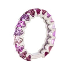 Rosetta Pink Ombre Sapphire 18 Carat White Gold Eternity Band Ring