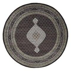 Round 250 Kpsi Tabriz Mahi Wool and Silk Hand Knotted Oriental Rug