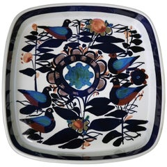 Royal Copenhagen Danish Modern Birds and Flowers Multicolored Tenera Bowl, 1960s