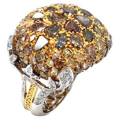 Royal Cushion Statement Ring of Mixed-Cut Fancy Color Diamonds in 18 Karat Gold