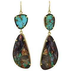 Royston Turquoise and Arizona Boulder Malachite 22 Karat Gold Dangle Earrings