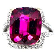 13 ct. Very Fine Rubelite and Diamond Ring