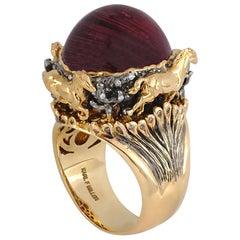 Rubellite Cat's Eye, Brown Diamond with Diamond Ring Set in 18 Karat Gold