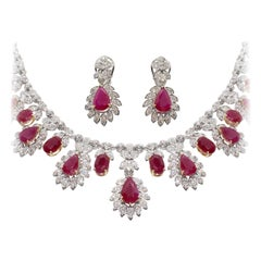 Ruby 27.88 Carat Diamond Necklace Set