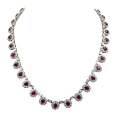 Ruby and Diamond Luxurious Estate Platinum Necklace with 9.60 Carat of Rubies