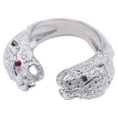 Ruby Emerald Silver Double Head Jaguar Ring J Dauphin