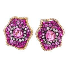 Ruchi New York Ruby, Pink Sapphire and Diamond Earrings