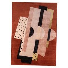 Rug & Kilim's Mid-Century Modern Geometric Brown and Gray Wool and Silk Rug