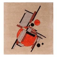 Rug & Kilim's Mid-Century Modern Style Geometric Beige Black and Orange Wool Cus