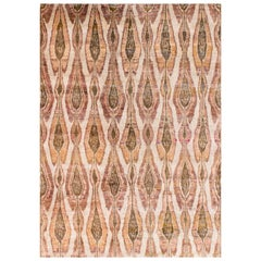 Rust Beige Olive Gold and Mustard Eco-Friendly Transitional Ikat Silk Rug