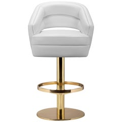 Russel Bar Chair in White with Brass Base