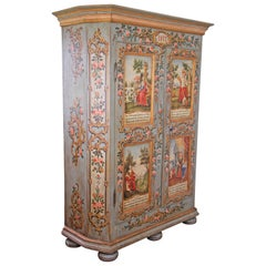 """Rustic Cabinet """"The Four Seasons"""" Hand Painted, Austria Dated 1817"""