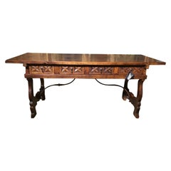 Rustic Desk or Library Table with Ox Bow Ends and Iron Stretcher below