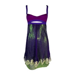 S/S 2003 Gianni Versace Runway Purple & Green Chain Mail Metal Mini Dress